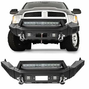 Front Bumper Guard W D rings Winch Led Lights Offroad For 13 18 Dodge Ram 1500