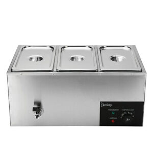 Zokop 3 Pan Commercial Bain Marie Food Warmer Electric Steam Table 6 9qt 6 5l