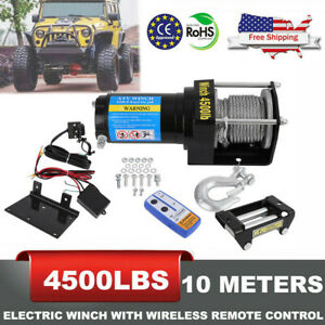 4500lb Winch Atv Utv 12v Electric Remote Waterproof Boat Steel Cable Set Offroad