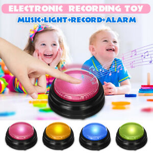Squeeze Led Recordable Talking Sound Button Game Buzzer Kid Interactive Toy