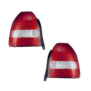 Tail Lights Lamps Pair Set For 99 00 Honda Civic Hatchback red clear