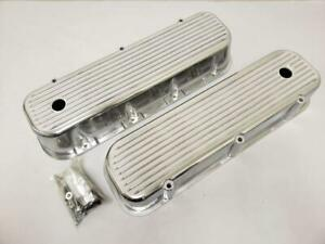 Big Block Chevy Polished Aluminum Tall Finned Valve Covers Bbc 396 454 502
