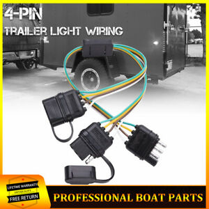 4 Pin Adapter Tow Hitch Y Splitter Dual Plug Trailer Harness For Led Light
