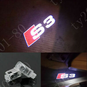 2x Laser Led Logo Door Lamp Puddle Courtesy Projector Shadow Lights For Audi S3