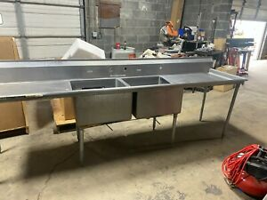 Stainless Steel Double Sink Hospital Table Assembly
