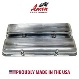 Corvette Valve Covers Polished Finned Style Small Block Chevy Ansen Usa
