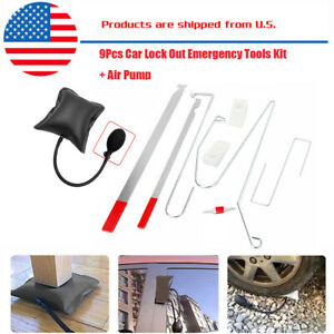 10pcs Car Door Key Lock Out Emergency Opening Unlock Tools Kit Air Pump wedge