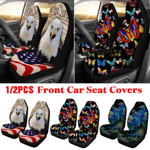 1 2x Animal Printed Universal Car Seat Cover Front Seat Fabric Cases Protector