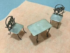 Antique Sterling Silver Miniature Patio Table 2 Chairs Set 48 6 Grams