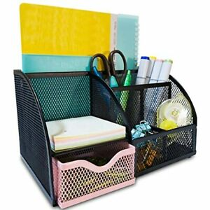Mesh Desk Organizers Keep Office Supplies In 1 Place Desktop Organizer