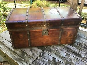 Antique Vintage Wood Chest Trunk Pirate Chest Halloween Prop