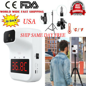 Wall Mounted Automatic Digital Infrared No contact Forehead Thermometer W holder