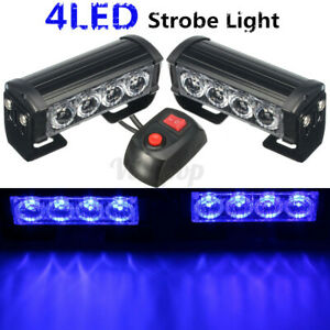 2x Led Blue Car Auto Van Strobe Flash Grille Light Warning Hazard Emergency Lamp