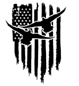 Duck Hunting American Flag Decal