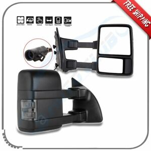 For 99 07 Ford F250 F350 F450 F550 Power Heated Smoke Signal Towing Mirrors Pair