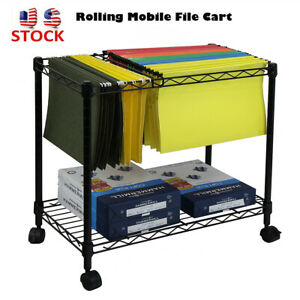 Single Tier Metal Rolling Mobile File Cart For Letter Size And Legal Size Folder