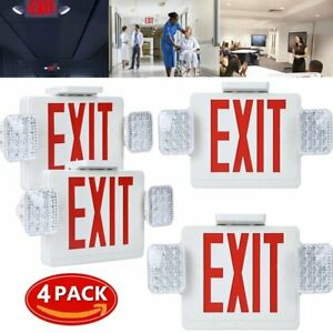 4pack Red All Led Exit Sign Emergency Light Square Head Combo Ul924 Combor2