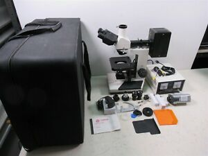 Vanguard Trinocular Microscope W Mercury Lamp Power Supply Case Metallurgical