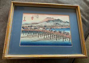 Vintage Hokusai Katsushika Mt Fugi Viewed Ocean Waves Framed Wood Block Print