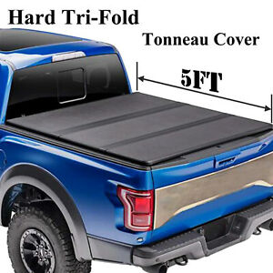For 2019 2020 Ford Ranger Pickup 5 Ft Truck Bed Hard Tri Fold Tonneau Cover