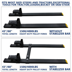 60 4000lbs Clamp On Pallet Forks Loader Tractor Heavy Duty W stabilizer Bar Us