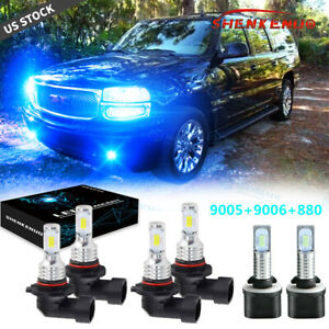 8000k Combo 9005 9006 880 Led Headlight Fog Bulbs For Gmc Yukon Denali 2004 2005