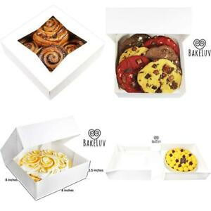 Bakeluv White Bakery Boxes With Window 8x8x2 5 Inches 25 Pack Auto popup T