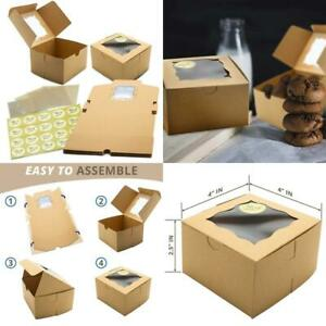 50 Pack Display Window Brown Bakery Boxes For Small Cake Cookie Dessert Donut