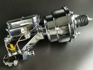 7 Dual Power Booster W Master Cylinder Disc Drum Proportioning Valve Chrome