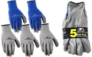 Wells Lamont Large Nitrile Coated Work Gloves Gray blue 5 Pack Durable Ppe