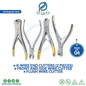 4pcs Set Orthopedic K wire End Cutters front Side Flush Double Action Cutter