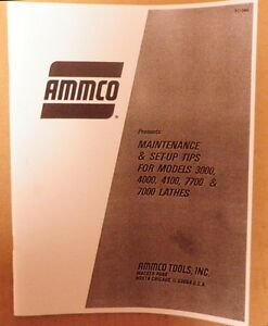 Ammco 3000 4000 4100 7000 Brake Lathe Maintenance And Set up Manual Guide
