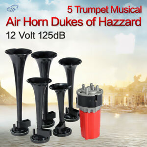 Dukes Of Hazzard Dixie Air Horn 5pcs Trumpets Musical Horn Kit 125db Compressor