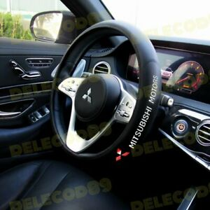 For Mitsubishi Black 15 Diameter Car Auto Steering Wheel Cover New Faux Leather