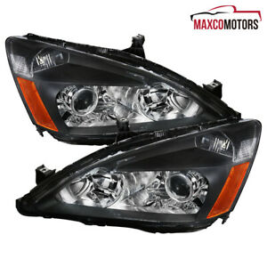 For 2003 2007 Honda Accord 2 4 Dr Black Projector Headlights Lamps Retro Style
