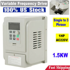2hp 1 5kw Variable Frequency Single To 3 Phase Drive Vfd Speed Controller Motor