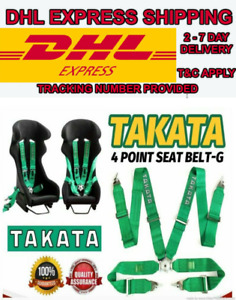 Takata 4 Point Snap on 3 With Camlock Racing Seat Belt Harness Green Dhl Express