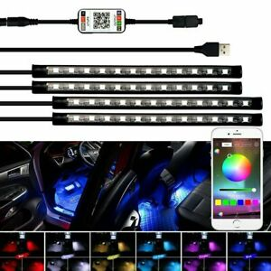 4 Pcs 48 Led Car Interior Atmosphere Lights Strip Music Control Bluetooth App