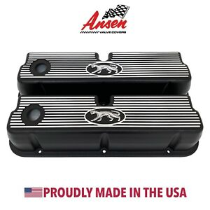 Ford 289 302 351w Tall Valve Covers Cougar W Finned Style Black Ansen Usa