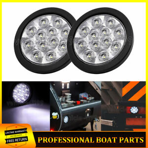 2x Round 4 Clear white Led Rubber Mount Light Reverse Back up Truck Trailer