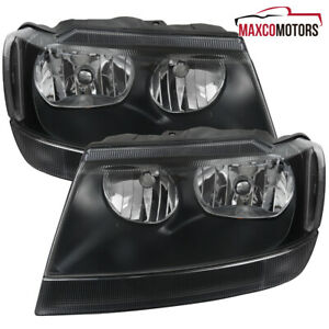 For 1999 2004 Jeep Grand Cherokee Matte Black Headlights Lamps Turn Signal Lamps