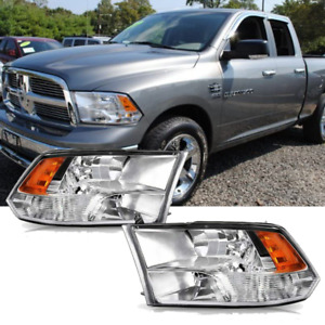 Headlights For 09 18 Dodge Ram 1500 2500 3500 Pickup Quad With Daytime Running