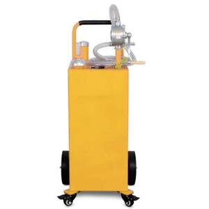 Pro 35 Gallon Gas Fuel Diesel Caddy Transfer Tank Container With Rotary Pump New