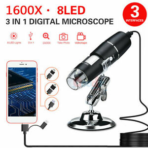 3 In 1 1600x 8led Usb Digital Microscope Endoscope Zoom Camera Magnifier W Stand