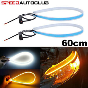 2x Flexible 60cm Led Car Headlight Slim Strip Lights Drl Turn Signal Lamps Amber