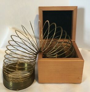Levenger Desk Toy Slinky Brass In Wood Box With Monogramed A On Top
