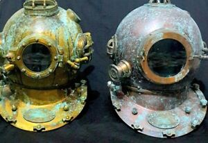 Lots Of Two Handmade Vintage Marine Antique Diving Helmet Us Navy 18 Inches Helm