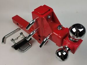 3 Way Tri Ball Adjustable 2 Solid Receiver Raise Drop Vertical Triple Tow Hitch