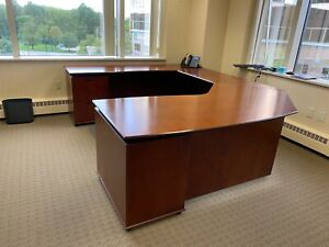 Executive Set U shape Desk Bookcase File Cabinet By Ofs Office Furniture