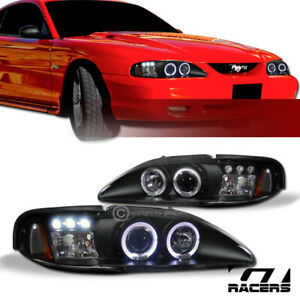 For 1994 1998 Ford Mustang Black Led Halo Projector Headlights Corner Amber 1pc